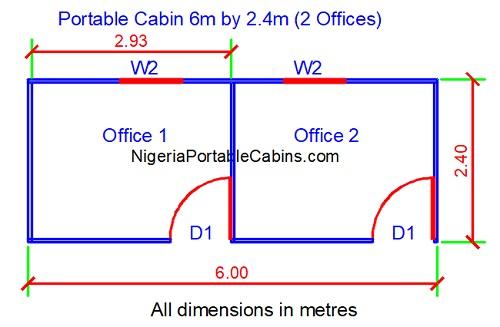 6 Metres By 2.4 Metres Portacabin Layout Plan