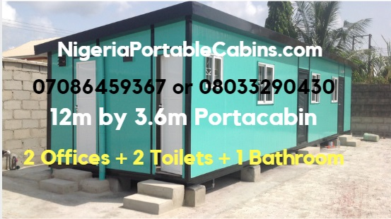 12m by 3.6m Portable Cabin Nigeria comprising 2 offices, 2 toilets and 1 bathroom