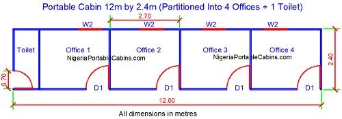 Floor Plan For 12 metres by 2.4 metres portacabin with toilet
