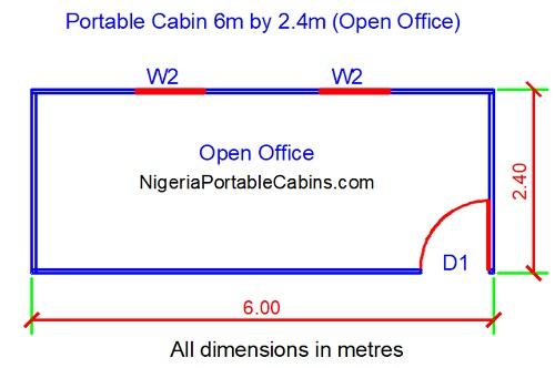 20 Feet Portacabin Floor Plan (6m by 2.4m)