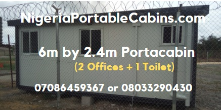6m By 2.4m Portable Cabin Nigeria Comprising 2 Offices and 1 toilet (back View)