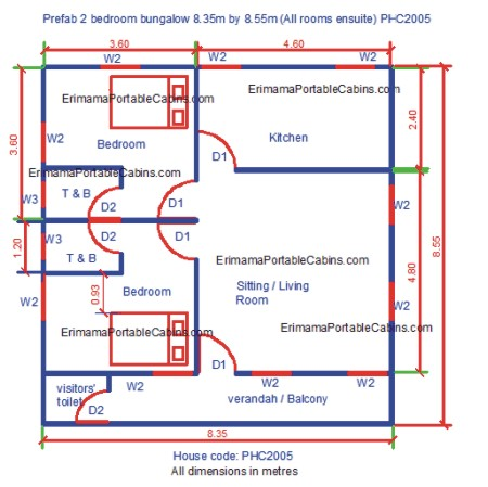 bedroom prefab bungalow plan with visitor's toilet, all rooms