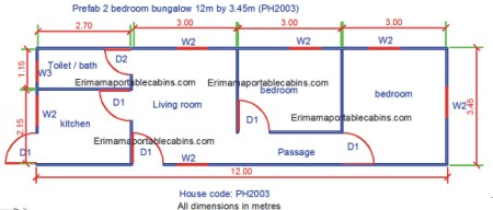 6 2 bedroom prefab bungalow building plan phc2005 - Sample House Plans 2