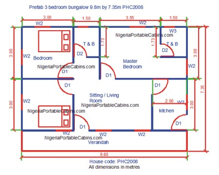 prefab 3 bedrooms bungalow plan nigeria 98by735phc2008 prefab house plans nigeria free prefab - House Building Plans