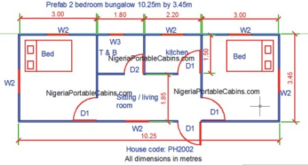 5 2 bedroom bungalow plan bigger apartment - Sample House Plans 2