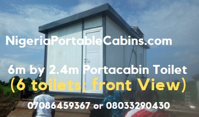 6m by 2.4m Portable Cabin Toilet Nigeria (6 in 1 Toilet): Front View