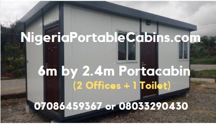 6m By 2.4m Portable Cabin Nigeria With 2 Offices and 1 Toilet