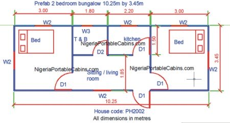 Prefab House Plans Nigeria   Free Prefab And Steel Building Plans       bedroom Bungalow Plan   Bigger Apartment